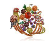 5.5 Inch Phoenix Cherry Multicolor Austrian Crystal Rhinestone Brooch Pin