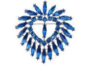 Heart Lots Teardrop Austrian Crystal Rhinestone Blue Brooch Pin