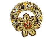 Daisy Wreath Yellow Austrian Crystal Rhinestone Brooch Pin