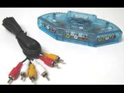 New 3-Way Audio Video AV RCA Clear Blue Switch Box Splitter