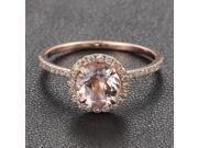7mm Morganite Engagement Ring .27ct Pave Diamond Claw Prongs HALO 14K Rose Gold