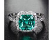 VS 8mm Emerald 14k White Gold Pave .31ctw Diamonds Halo Wedding Engagement Ring