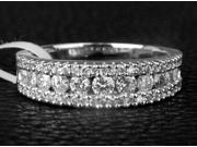 Channel 1.01ct DIAMOND 14K WHITE GOLD Women MENS WEDDING Half Eternity BAND RING