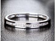 Princess Cut .41ct DIAMOND 14K WHITE GOLD Channel WEDDING BAND Engagement RING