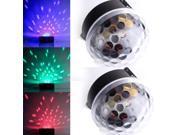 2 X RGB Crystal Ball Stage Lighting DJ Disco Club Effect Light Voice Control