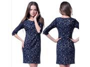 Spring 75 Percent Sleeve Slim Fit Bodycon Embroidery Lace Elegant Dress