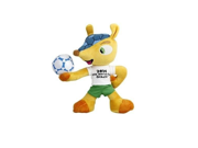 """5.5"""" Tall World Cup 2014 Brazil Mascot Fuleco Plush Toy 13 cm Hold the Ball"""