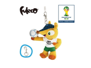 World Cup 2014 Brazil Mascot Fuleco Plush Toy 13cm With Key Hook Hold the Ball