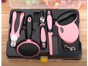 DELE Grooming Luxury Kit 5pcs/set Pet Dog Cat Automatic Leash+ 3 Combs + Nail Clippers + Grater