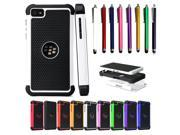 Hybrid Hard TPU Cover Case With Stylus Pen for Blackberry Z10 High Impact Two Layer