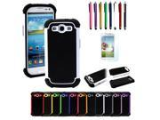 Combo Of Hybrid Hard Case Cover & Stylus Pen+ Film Protector Samsung Galaxy S3 SIII i9300