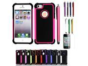 New Dual Layer Rugged Hybrid Shock Proof Case For Apple iPhone 5 5G 5S With Stylus Pen+Screen Protector