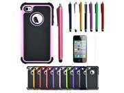 New Dual layer Hybird Hard Case With Stylus Pen & Film Protector for Apple iPhone 4G 4S