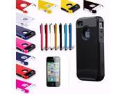 New Color Rugged Rubber Matte Hard Case Cover with Stylus Pen+ Screen Protect For iPhone 4 4S
