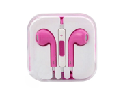 Pink Wired 3.5mm jack earphone earbud headset remote Mic For iPhone5 iPhone5c iPhone5s iPad1 iPad2 iPad3 iPod touch