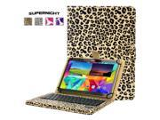 "SuperNight® Universal 9""-10"" Leather Stand Folding Folio Back Case Cover + Detachable Removable Magnetic Bluetooth 3.0 Keyboard For Ipad Air 1 2 / Samsung Galaxy Tab 4 10.1 T530  Yellow leopard print"