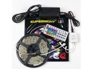 SuperNight® 5M 16.4ft 3528 RGB 300 LED Light Strip waterproof Lamp with 44 Key IR Remote Controller and 12V 3A Power Supply Transformer
