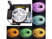 SuperNight® 16.4ft RGBWW RGB+Warm White LED Strip Flexible Light Kit , 5050 300led Waterproof IP67 RGBWW LED Lighting + 40Key IR Remote Controller +12V 5A Power Supply - White Roll Strip