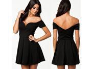 Black Sexy Drop-shoulder Skater Dress Women Party Wear Summer Spring Prom Clothes Brand New 2014