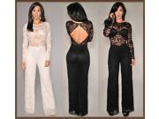 2014 New Sexy White Black Long Sleeve Lace Cut-Out Back Jumpsuit Women Fashion Romper macacao femininos