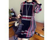 Dear-Lover Women's Retro Round Collar Sweater Dress Lady Spring Fashion Dresses