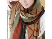 Dear-Lover Women's New Design Multicolor Stripes Splicing Women Shawl Scarf - Fashion Scarves