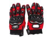 2PCS Black+Red L Breathable Sport Bicycle Motorcycle Cycling Protective Gloves