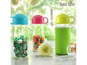 Just Life U-01196 Portable BPA Free Glass Water Bottle with Sleeve Sports Water Bottle 17oz