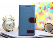 Euroge Tech® Wallet Flip Magnet Jean Stand Leather Case Cover with Card Holder for or HTC ONE MAX T6(sky blue)
