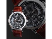 New Fashion Date Men Brown Leather Band Skeleton Calendar Mechanical Wrist Watch