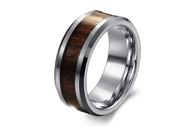 Special Wood Inset Tungsten Beveled Edge Ring 8mm