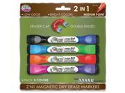 The Board Dudes Double-sided Magnetic Marker - Medium Marker Point Type - Blue, Black, Light Blue, Green, Orange, Red, Pink, Purple Ink - 4 / Pack
