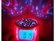 Novelty LED Starry Sky Projection Calendar Thermometer Music LCD Digital Alarm Clock