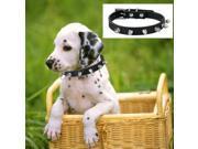 "Black PU Dog Pet Pitbull Punk Spike Stud Rivets Neck Collar 7 - 11"""