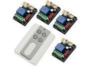 RF AC 220V 1000W One Transmitter with 4X 1 Channel Relays Smart Wireless Remote Control Switch White & Grey Transmitter
