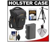 Case Logic Digital SLR Zoom Holster Camera Bag/Case (Black) (SLRC-201) with LP-E6 Battery + Tripod + Accessory Kit