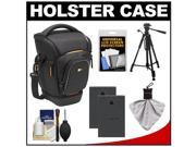 Case Logic Digital SLR Zoom Holster Camera Bag/Case (Black) (SLRC-201) with (2) BLS-1 Batteries + Tripod + Accessory Kit