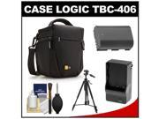 Case Logic TBC-406 Digital SLR Camera Holster Case (Black) with LP-E6 Battery & Charger + Tripod + Kit for Canon EOS 6D, 7D, 5D Mark II III