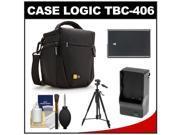Case Logic TBC-406 Digital SLR Camera Holster Case (Black) with EN-EL14 Battery & Charger + Tripod + Kit for Nikon D3100, D3200, D5100, D5200