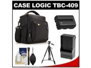 Case Logic TBC-409 Digital SLR Camera Shoulder Case (Black) with NP-FM500H Battery & Charger + Tripod + Kit for Sony Alpha A57, A58, A65, A77, A99