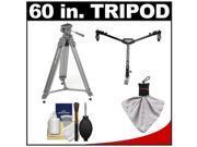 """Sunpak 60"""" Pro M2 Heavy Duty Video Tripod with Fluid Head & Case with Tripod Dolly + Accessory Kit"""