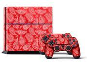 Sony PS4 PlayStation 4 Console Skin plus 2 Controller Skins -  Paisley Red