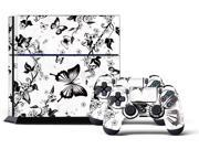 Sony PS4 PlayStation 4 Console Skin plus 2 Controller Skins -  White Blossoms & Butterflies