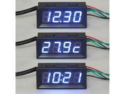Digital Car Clock Volt Gauge Electrical Test Meters 18B20 Temp Monitor Sensor Probe Blue LED