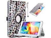 "Tab 4 7.0 Case, ULAK Case for Samsung Galaxy Tab 4 7.0"" T230 /T231/ T235 Galaxy Tab 4 Nook Fashion 360 Rotating Stand Cover with Stylus (Colorful Leopard)"