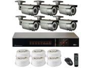 GW 8 channel 1080P Full HD SDI Security System, 6 x 2.1Megapixel Varifocal Lens Weather Proof HD Security Camera, 6 x 100' RG59 Cable, Touch Panel Realtime Motion Detective Smartphone View (6TB HDD)