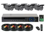 GW (Build Your Own) 8 Channel Security System Realtime 30Fps Motion Detective DVR Kit, 4x 700 TVL Water Proof Security Camera 65 Feet IR Distance HDMI Video Output PC & Smartphone Compatible (4TB HDD)