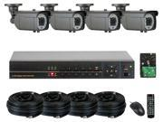 GW (Build Your Own) 8 Channel Security System Realtime Motion Detective DVR Kit, 4x 1000 TVL Water Proof Security Camera 147 Feet IR Distance HDMI Video Output PC & Smartphone Compatible (4TB HDD)