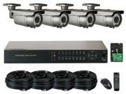 GW (Build Your Own) 8 Channel HD-SDI Security System Realtime Motion Detective DVR Kit, 4x 1080P Water Proof Security Camera 196 Feet IR Distance HDMI Video Output PC & Smartphone Compatible (4TB HDD)