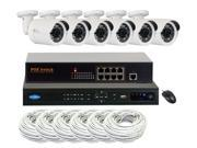 GW 8 Channel NVR Kit with 8 Port PoE Switch, 6 IP Camera System PoE Weather Proof 1080P Display 1080P Recording 2.4 Megapixel 48 Feet IR Distance, Motion Detectvie Smartphone View (4TB HDD)